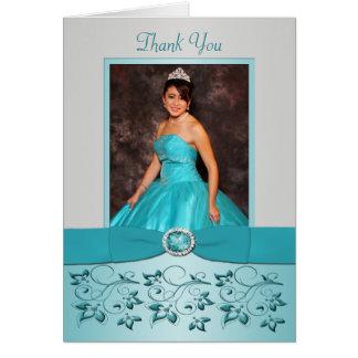 La aguamarina y la plata florales le agradecen car tarjeta pequeña