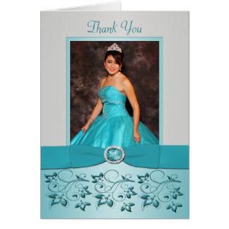 La aguamarina y la plata florales le agradecen tarjeta pequeña