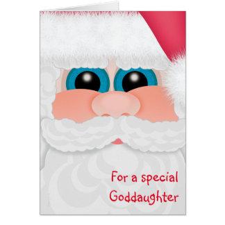 La ahijada Santa grande de las Felices Navidad Tarjeta De Felicitación