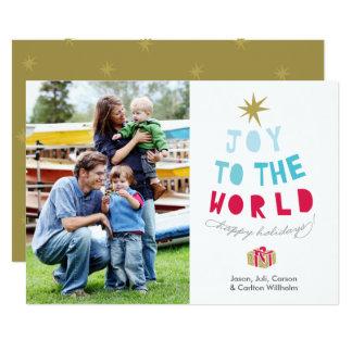 La alegría al mundo - tarjeta de la foto del día invitación 12,7 x 17,8 cm