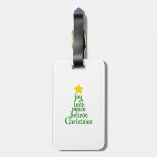 La alegría, amor, paz, cree, navidad etiqueta para maletas