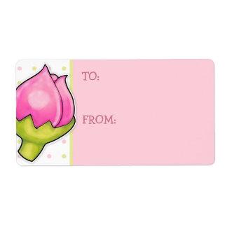 La alegría del capullo de rosa puntea la etiqueta etiquetas de envío
