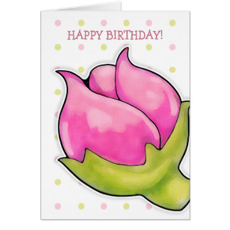 La alegría del capullo de rosa puntea la tarjeta