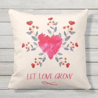 La almohada del patio dejó amor crecer corazones cojín decorativo