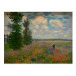 La amapola coloca la bella arte de Claude Monet Postal