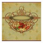 La amapola enrolla la invitación de la flor de lis