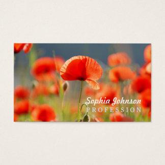 La amapola roja de las amapolas florece el cielo tarjeta de visita