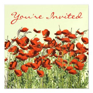 La amapola roja del retiro florece la plantilla de invitación 13,3 cm x 13,3cm