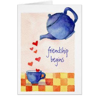 La amistad comienza - la tarjeta