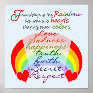 La amistad es el arco iris BFF que dice diseño Póster