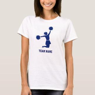 La animadora en silueta salta la camiseta azul de