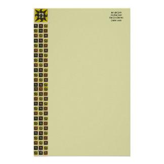 La antigüedad tejó la flor de lis el amarillo papeleria de diseño
