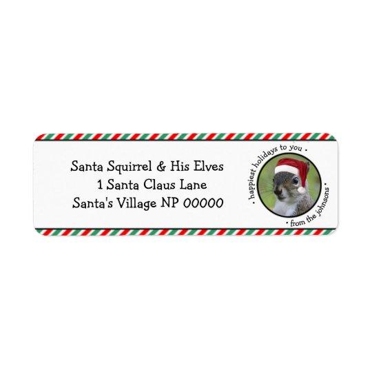 La ardilla alegre de Santa dice los días de fiesta Etiqueta De Remitente