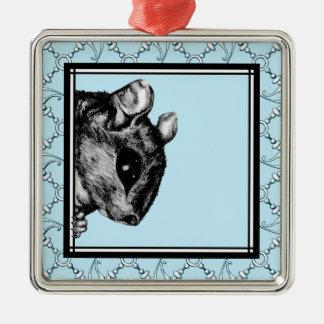 La ardilla - gancho y lazo 1 adorno cuadrado plateado