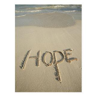 La arena de la esperanza de la palabra escrita e postales