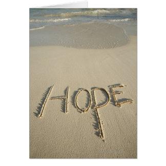 """La arena de la """"esperanza"""" de la palabra escrita tarjeta de felicitación"""