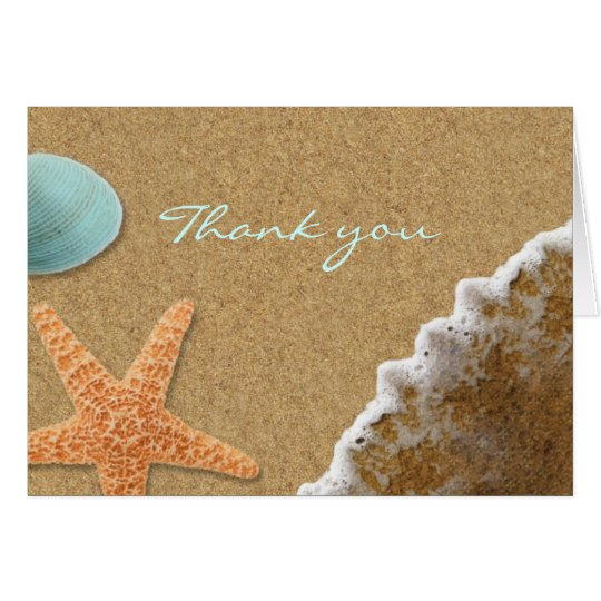 La arena y la playa de las cáscaras le agradecen tarjeta pequeña