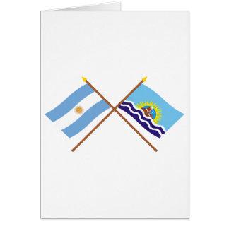 La Argentina y banderas cruzadas Santa Cruz Tarjeta De Felicitación