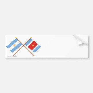 La Argentina y banderas cruzadas Santiago del Este Pegatina Para Coche