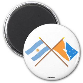 La Argentina y banderas cruzadas Tierra del Fuego Imán Redondo 5 Cm