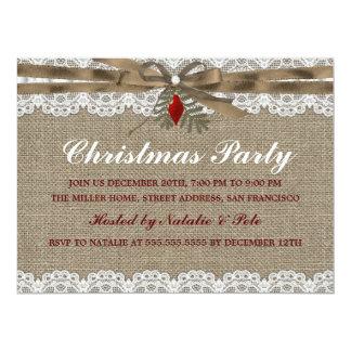La arpillera y la fiesta de Navidad del vintage Invitación 16,5 X 22,2 Cm