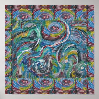 La AVENTURA agita el arte abstracto BARATO Póster