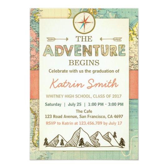 La aventura aguarda el mapa del viaje de la invitación 12,7 x 17,8 cm