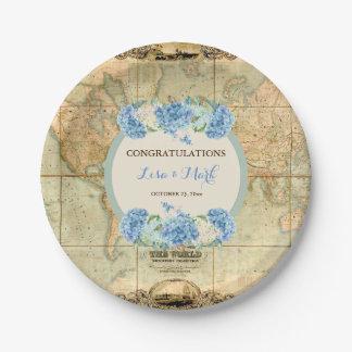 La aventura aguarda Hydrangeas del azul del mapa Plato De Papel