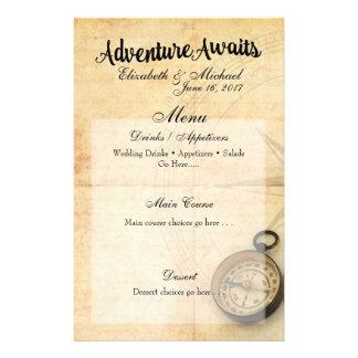 La aventura aguarda la tarjeta del menú