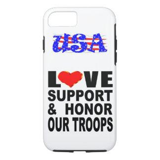 La ayuda del amor y honra a nuestras tropas los funda para iPhone 8/7