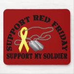 La ayuda viernes rojo, apoya a mi soldado tapete de ratón