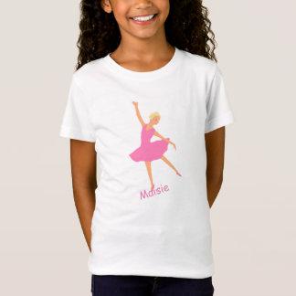 La bailarina en tutú rosado añade nombre camiseta