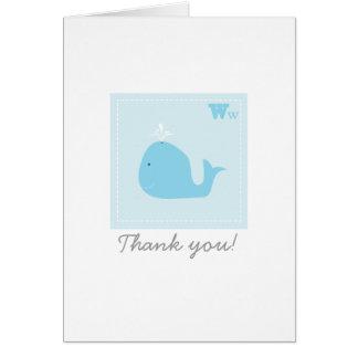 La ballena del bebé le agradece cardar tarjeta de felicitación
