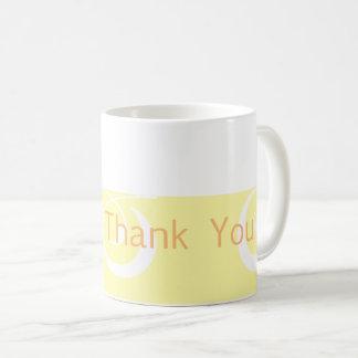 La banda decorativa amarilla clara le agradece taza de café