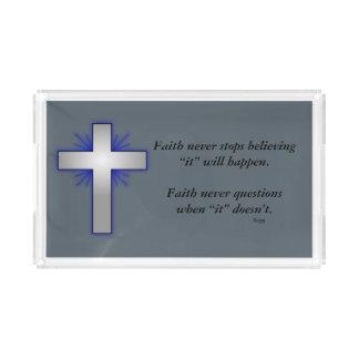 La bandeja w/Blue de la vanidad de la fe nunca