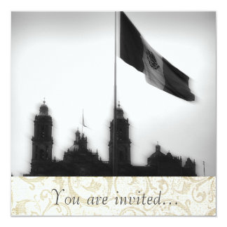 La Bandera 10 de la estafa del EL Zocalo del DF Invitación 13,3 Cm X 13,3cm