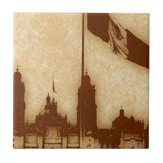 La Bandera 11 de la estafa del EL Zocalo del DF Azulejo Cuadrado Pequeño