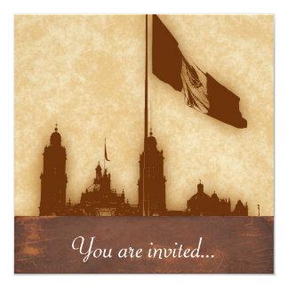 La Bandera 11 de la estafa del EL Zocalo del DF Invitación 13,3 Cm X 13,3cm
