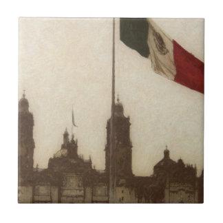 La Bandera 12 de la estafa del EL Zocalo del DF Azulejo Cuadrado Pequeño