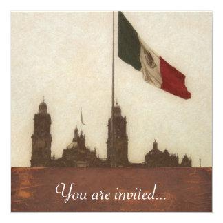 La Bandera 12 de la estafa del EL Zocalo del DF Invitación 13,3 Cm X 13,3cm