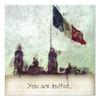La Bandera 3 de la estafa del EL Zocalo del DF del Invitación 13,3 Cm X 13,3cm