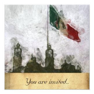 La Bandera 4 de la estafa del EL Zocalo del DF del Invitación 13,3 Cm X 13,3cm