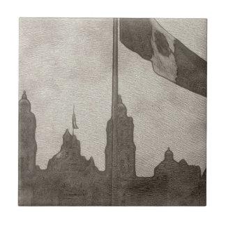 La Bandera 6 de la estafa del EL Zocalo del DF del Azulejo Cuadrado Pequeño