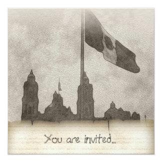 La Bandera 6 de la estafa del EL Zocalo del DF del Invitación 13,3 Cm X 13,3cm