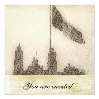 La Bandera 7 de la estafa del EL Zocalo del DF del Invitación 13,3 Cm X 13,3cm