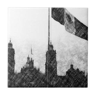 La Bandera 8 de la estafa del EL Zocalo del DF del Azulejo Cuadrado Pequeño