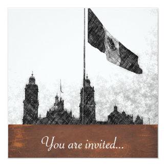 La Bandera 8 de la estafa del EL Zocalo del DF del Invitación 13,3 Cm X 13,3cm