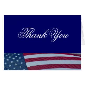 La bandera americana patriótica le agradece las tarjeta
