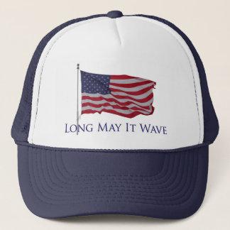 la bandera americana patriótica   puede él agitar gorra de camionero