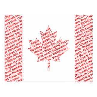 La bandera canadiense con la ciudad y el pueblo postal